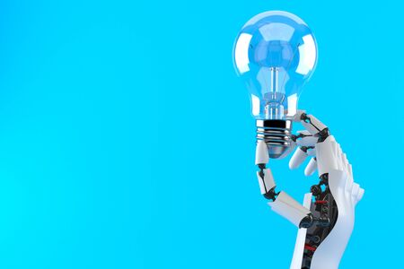 Cyborg hand with Light bulb isolated on blue background. 3d illustration