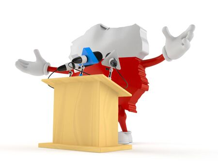 Poland character gives a presentation isolated on white background. 3d illustration