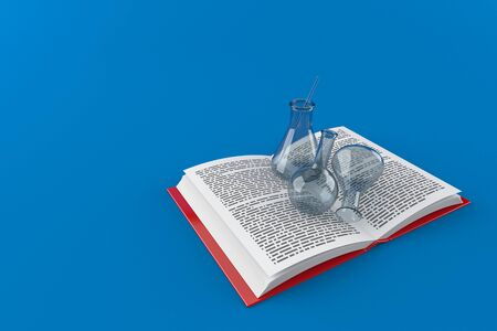 Chemistry flasks on open book isolated on blue background. 3d illustration