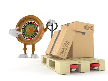 Roulette character with hand pallet truck with cardboard boxes isolated on white background. 3d illustration 写真素材