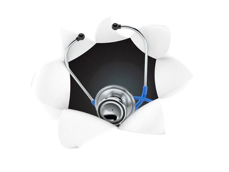 Stethoscope inside hole from torn paper. 3d illustration Stockfoto