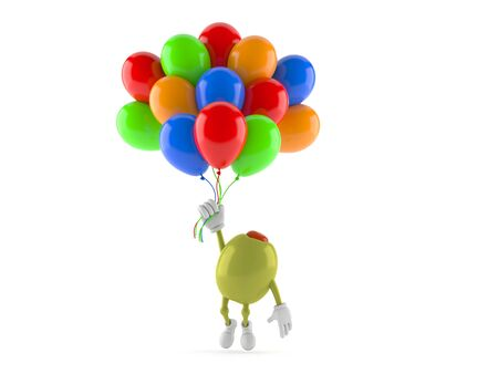 Olive character flying with balloons isolated on white background. 3d illustration