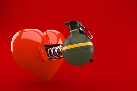 Heart with hand grenade isolated on red background. 3d illustration Stock Photo