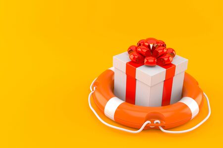 Gift with life buoy isolated on orange background. 3d illustration