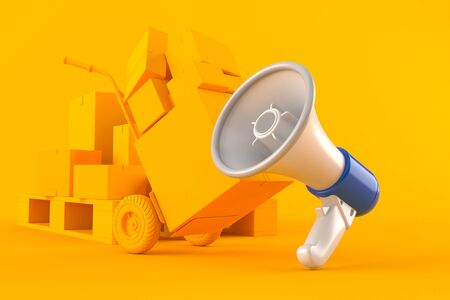 Delivery background with megaphone in orange color. 3d illustration