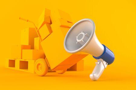 Delivery background with megaphone in orange color. 3d illustration Stockfoto