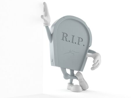 Grave character leaning on wall isolated on white background. 3d illustration Stock Photo