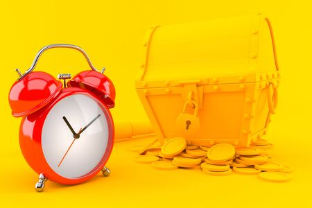 Treasure background with alarm clock in orange color. 3d illustration Standard-Bild