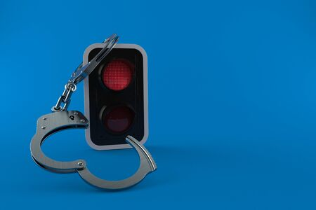 Red traffic light with handcuffs isolated on blue background. 3d illustration
