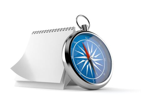 Compass with blank calendar isolated on white background. 3d illustration
