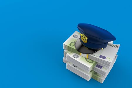 Police hat on stack of money isolated on blue background. 3d illustration
