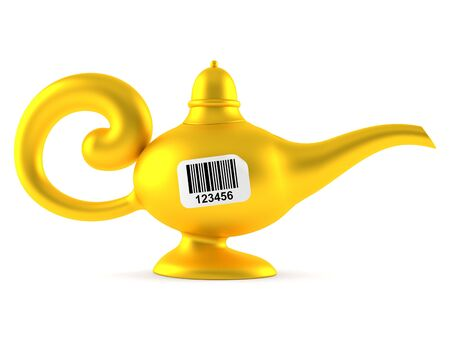 Magic lamp with barcode isolated on white background. 3d illustration