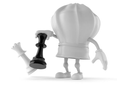 Chef character playing chess isolated on white background. 3d illustration Reklamní fotografie