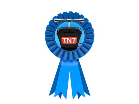 TNT detonator inside award ribbon isolated on white background. 3d illustration