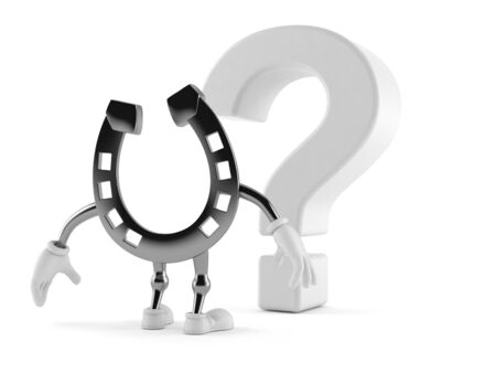 Horseshoe character looking at question mark symbol isolated on white background. 3d illustration