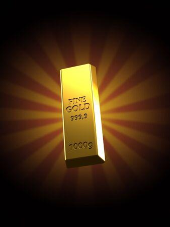 Gold ingot on rays background. 3d illustration