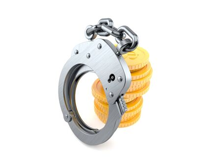 Handcuffs with stack of coins isolated on white background. 3d illustration Stock Photo