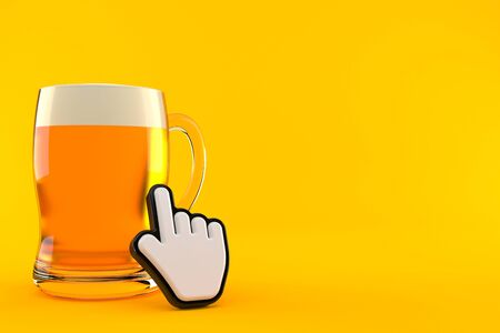 Glass of beer with web cursor isolated on orange background. 3d illustration