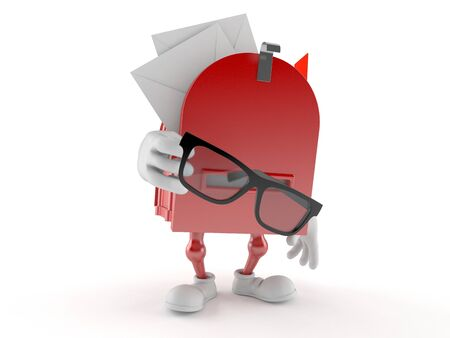 Mailbox character holding glasses isolated on white background. 3d illustration 版權商用圖片