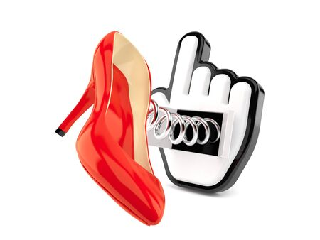 Red heel with cursor isolated on white background. 3d illustration