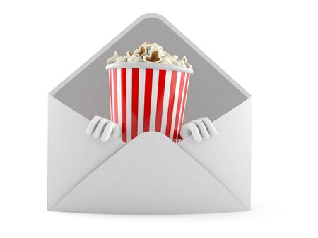 Popcorn character inside envelope isolated on white background. 3d illustration