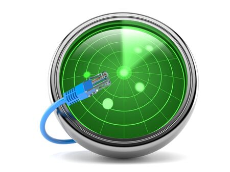 Radar with network cable isolated on white background. 3d illustration Banque d'images