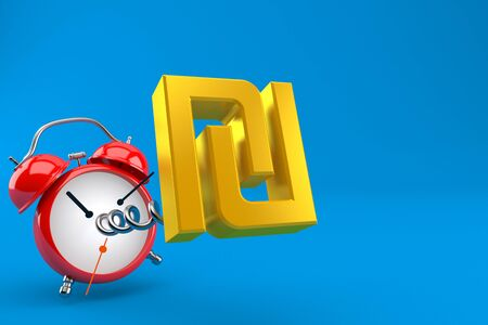 Shekel currency symbol with alarm clock isolated on blue background. 3d illustration 版權商用圖片