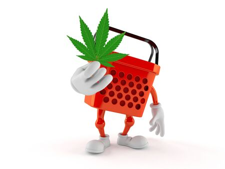 Shopping basket character holding cannabis leaf isolated on white background. 3d illustration