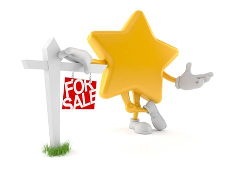 Star character with real estate sign isolated on white background. 3d illustration