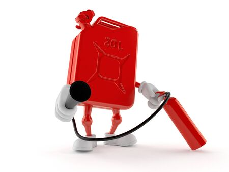 Petrol canister character holding fire extinguisher isolated on white background. 3d illustration Archivio Fotografico