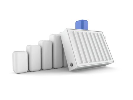 Radiator with chart isolated on white background. 3d illustration