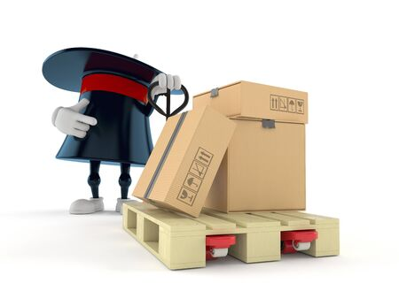 Magic hat character with hand pallet truck with cardboard boxes isolated on white background. 3d illustration