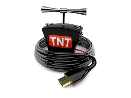 TNT detonator with hdmi cable isolated on white background. 3d illustration Stockfoto