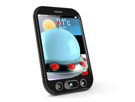 UFO inside smart phone isolated on white background. 3d illustration