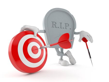 Grave character with bull's eye isolated on white background. 3d illustration