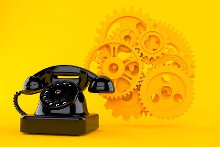 Teamwork background with telephone in orange color. 3d illustration