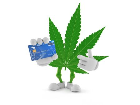 Cannabis character holding credit card isolated on white background. 3d illustration