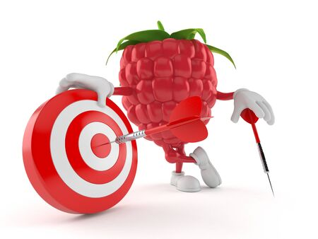 Raspberry character with bull's eye isolated on white background. 3d illustration