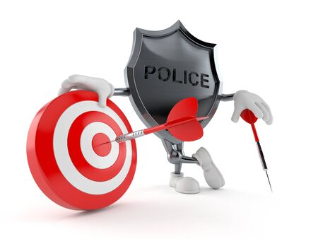Police badge character with bull's eye isolated on white background. 3d illustration