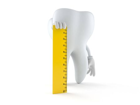 Tooth character holding ruler isolated on white background. 3d illustration