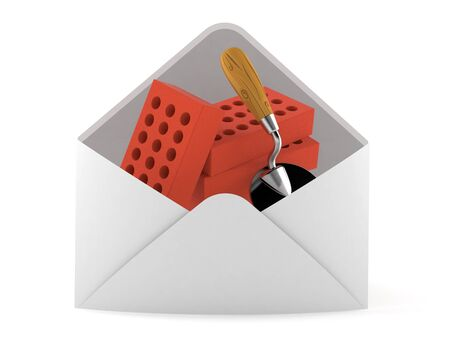 Trowel and bricks inside envelope isolated on white background. 3d illustration