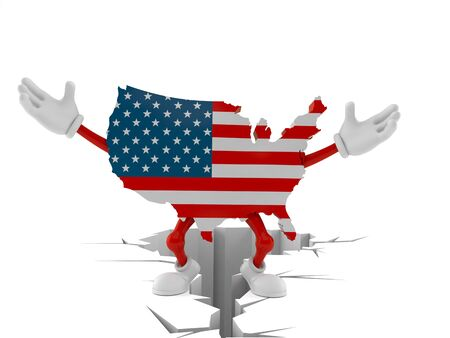 USA character standing on cracked ground isolated on white background. 3d illustration