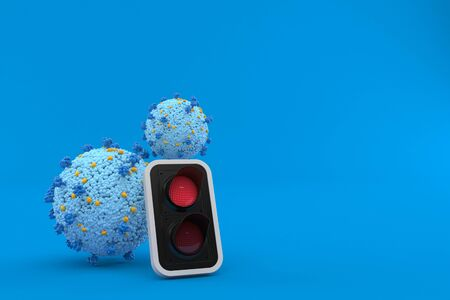 Virus with red traffic light isolated on blue background. 3d illustration