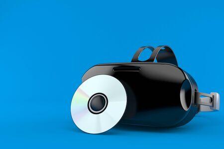 VR headset with cd disc isolated on blue background. 3d illustration Reklamní fotografie