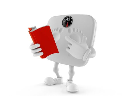 Weight scale character reading a book isolated on white background. 3d illustration Reklamní fotografie