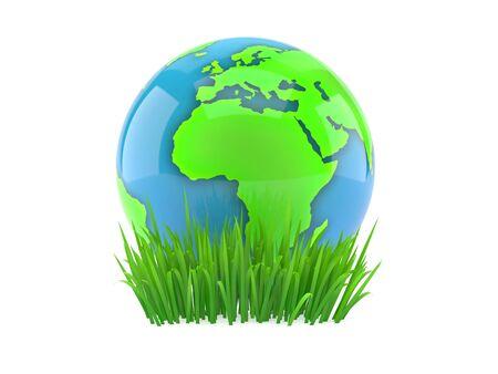 World globe on grass isolated on white background. 3d illustration
