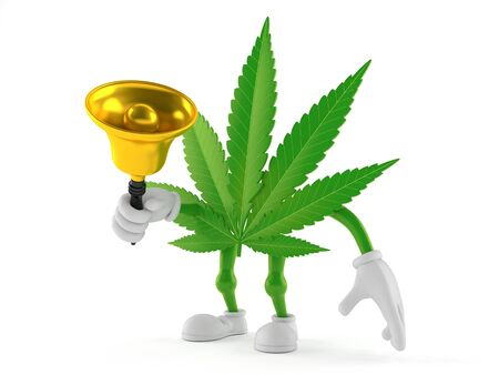 Cannabis character holding a hand bell isolated on white background. 3d illustration Archivio Fotografico