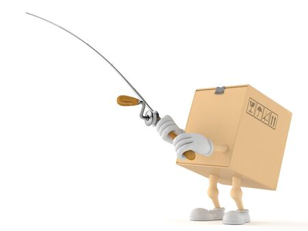 Package character with fishing rod isolated on white background. 3d illustration Reklamní fotografie