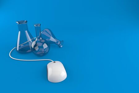 Chemistry flasks with computer mouse isolated on blue background. 3d illustration