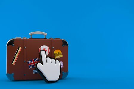 Travel case with web cursor isolated on blue background. 3d illustration Foto de archivo